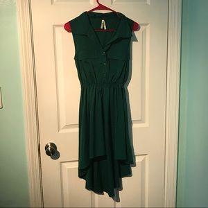 Emerald green high low dress.